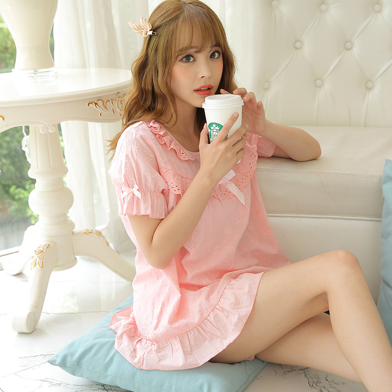 a5405d35d6e Ladies Summer Pyjamas Short sleeve Cotton Pajamas Shorts Sexy Lace  Sleepwear Pink White Stitch Pajama Set Homewear For Women-in Pajama Sets  from Underwear ...