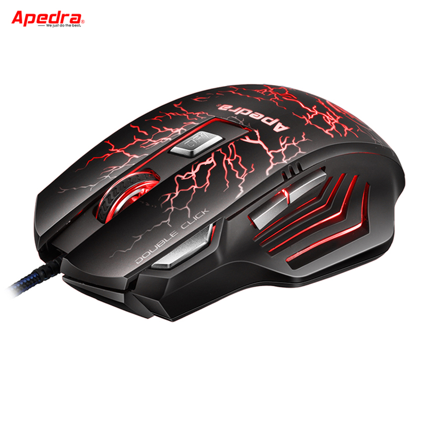 APEDRA Programmerbar USB Wired Gaming Mouse 7Buttons 3200DPI Optisk Dator Mus Spelare Möss för PC Laptop Spel LOL CSGO Dota 2