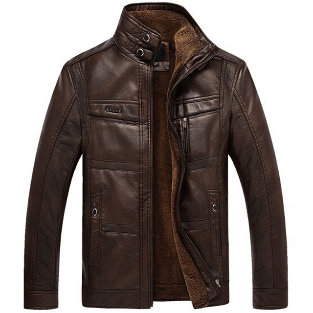2017 PU Leather Jacket Men Winter Business Casual Mens
