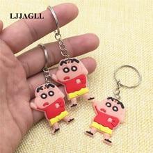 Anime CRAYON Figure Straps Bag Phone Pendant PVC Cartoon Shin-chan 10pcs/lot 31*86mm Key Chain Ring Comic Key Holder ACT005 pvc cartoon comic doll