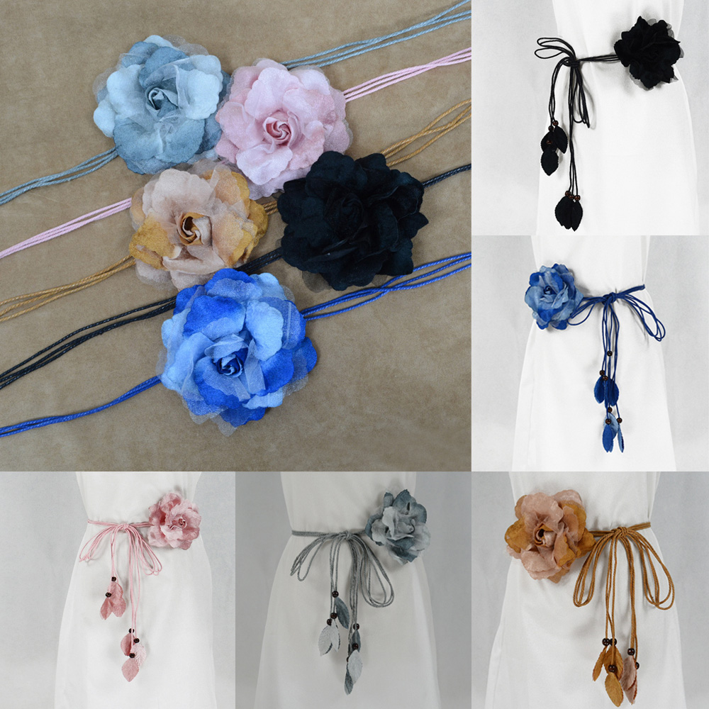 Women Thin   Belt   Big Flower Decor   Belt   Knotted Long Tassel Decoration Waistband BLTHG0364