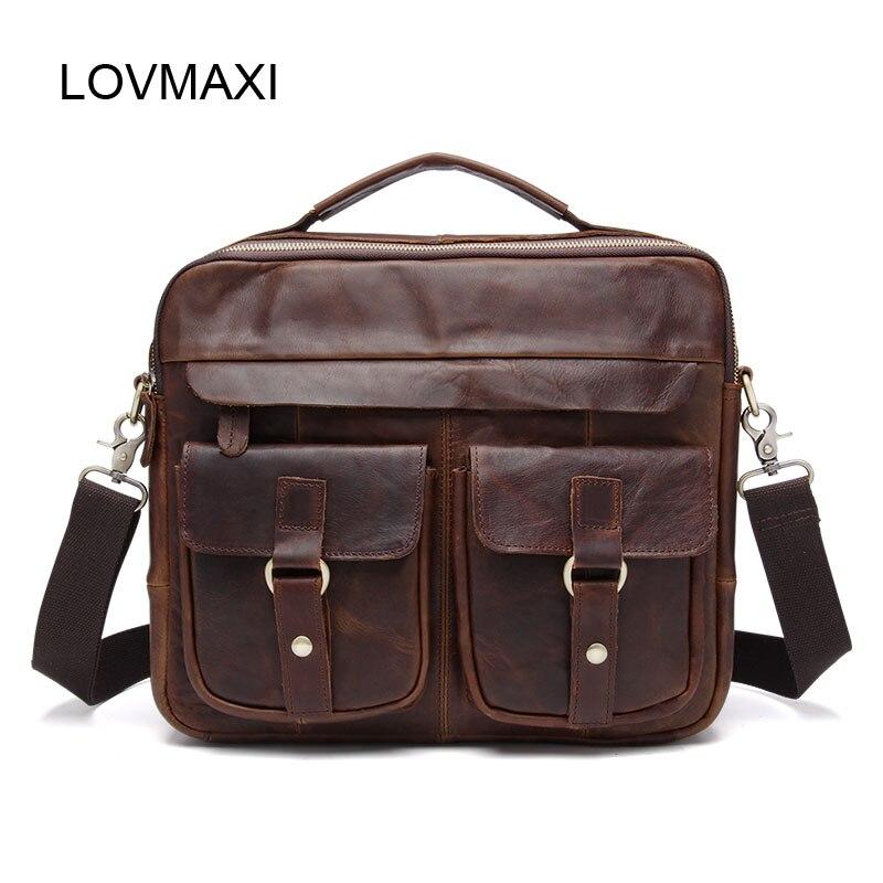 LOVMAXI COW Leather Vintage Men Briefcases Handbags Crazy horse Leather Shoulder Bag For Male Business Messenger Bag Man's Bags цена и фото