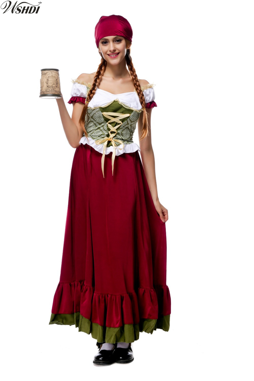 Womens Maroon Beer Maid Oktoberfest Wench Ladies Dirndl Fancy Dress Costume