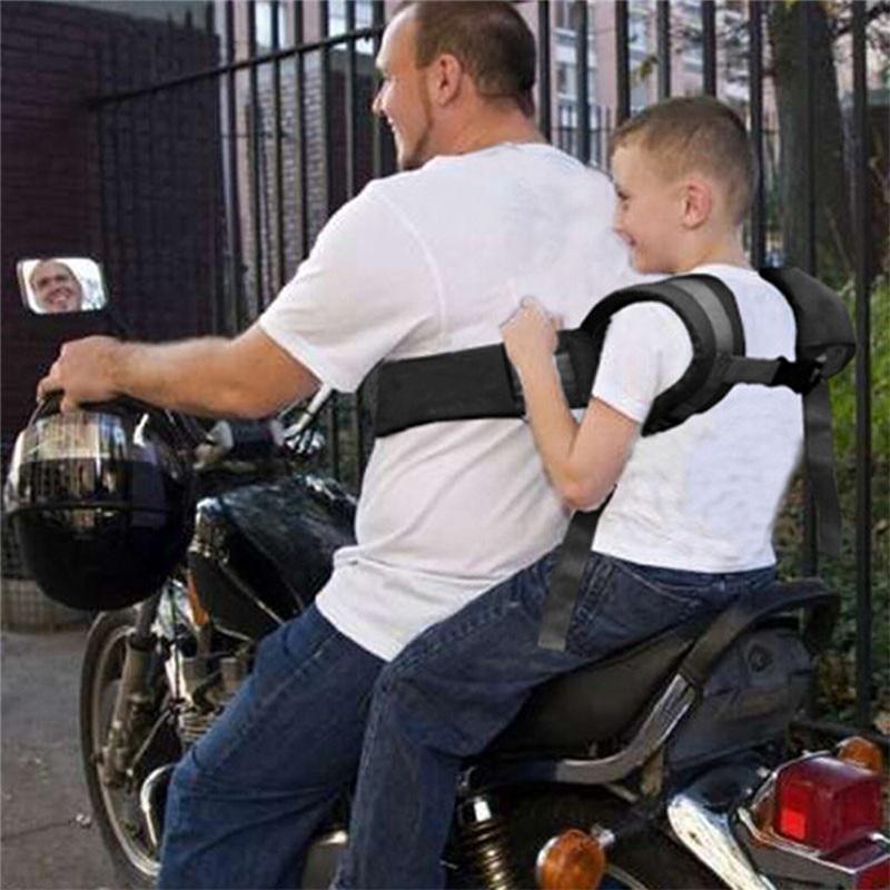 Children Safety Belt Back Strap Motorcycle Seat Harness Adjustable Breathable