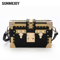 Luxury Brand Handbag Women Evening Bag Metal Rivet Clutch Famous Design Box Bag Party Purse Women
