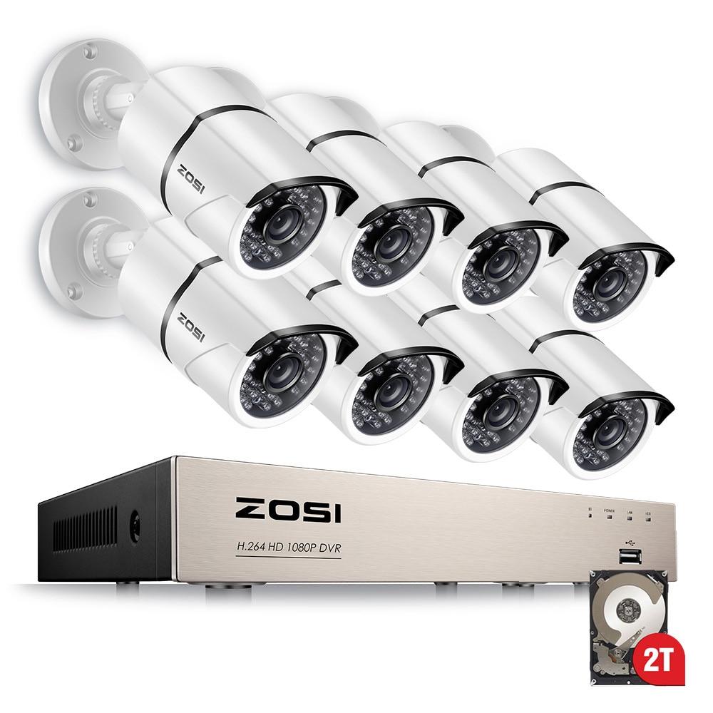 ZOSI 1080 p 8CH TVI DVR avec 8X1080 p HD Extérieure de Sécurité À Domicile Vidéo Caméra de Surveillance Système 2 tb Disque Dur Blanc