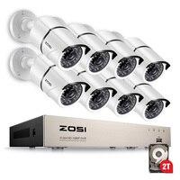 ZOSI 1080P HD P 8CH TVI DVR с 8X 1080 открытый охранных товары теле и видеонаблюдения камера системы 2 ТБ жесткий диск Белый