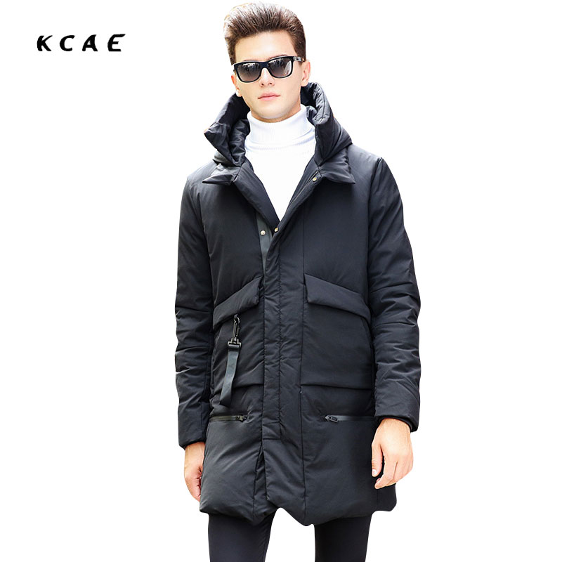 все цены на  2017 Winter coat Male Korean version of the Slim hooded thick in the long section of Fashion jacket men jacket High quality  онлайн