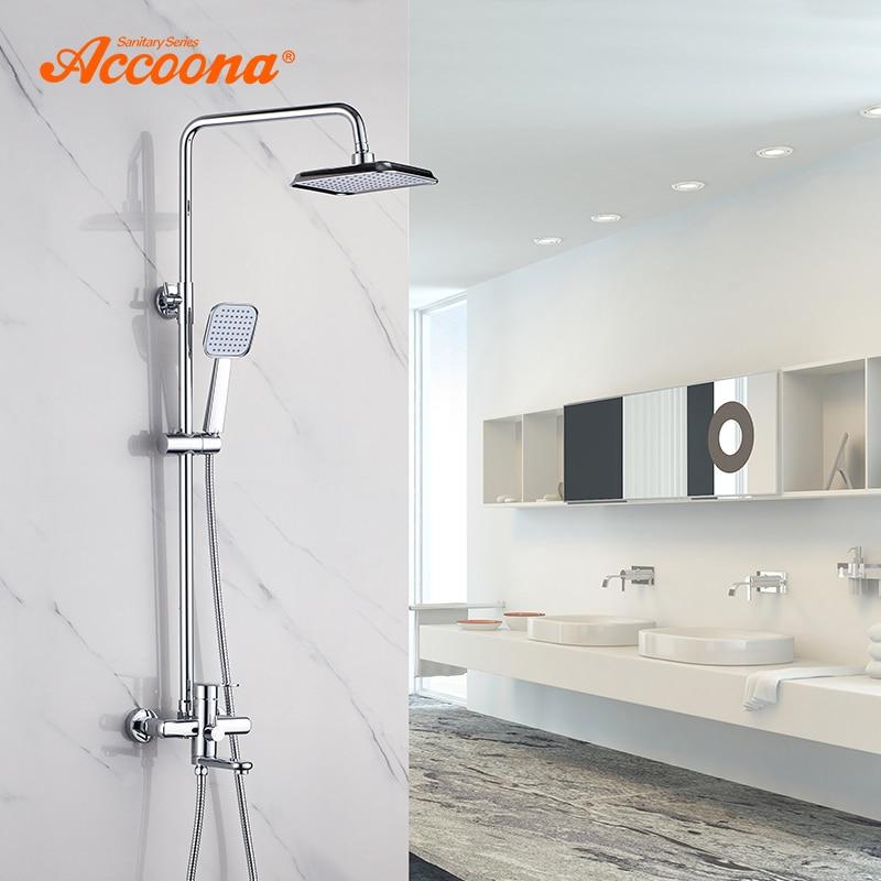 Accoona Banyo Duş Musluk Tek Kolu musluk bataryası Duvara Monte Banyo Duş Setleri sürgü Banyo Krom Musluk A8395