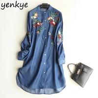 Spring 2018 Women Floral Embroidery Tencel Denim Dress Vintage Blue Long Sleeve Casual Dresses Summer Plus Size Shirt Dress