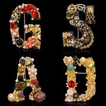 Rinhoo – broche en forme de lettre avec strass pour femme et fille, peinture à l'huile, bijoux créatifs, accessoires