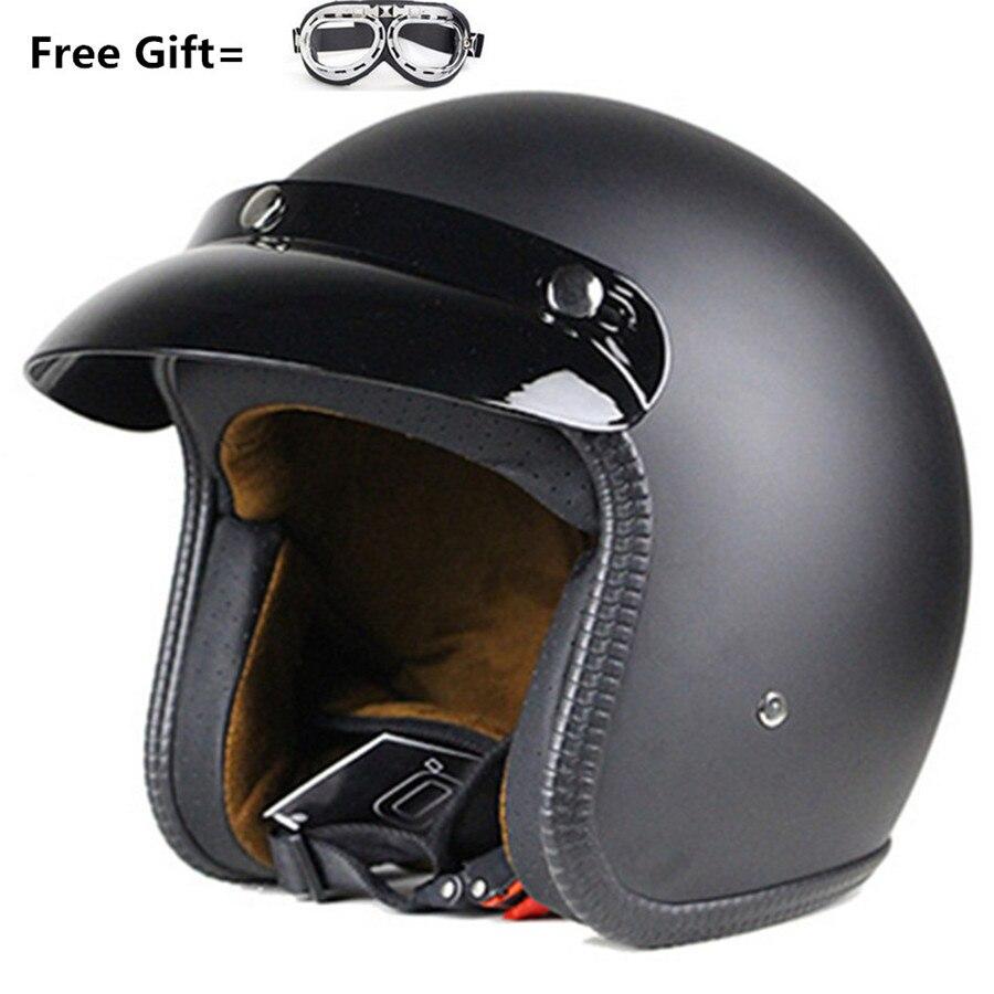 все цены на 3/4 Open Face Motorcycle Helmets Vintage Scooter Moto Bike Mask Gift Retro Jet Motorbike Helmet For Harley онлайн