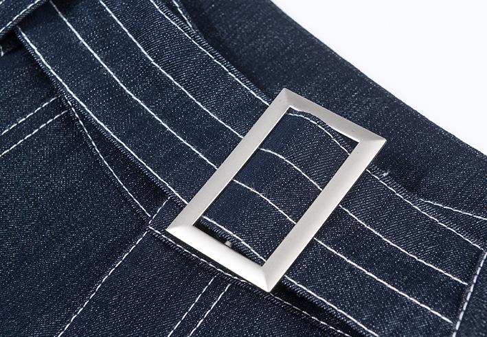 Denim Mode Rayé Lâche Casual Sash Automne Pantalon Jambe Femmes Bleu Printemps Pantalon Jeans Taille Blue Large Femme Haute 3xl rwnPBrqp