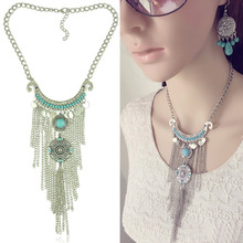 SHUANGR Vintage Thai Silver Tassel Necklace Bohemia Big Long Pendant Necklace Statement Necklace for Women Free Shipping