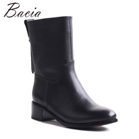 Bacia Motocycle Boots Thick Shortplush Mid Calf Boots Square Heels Full Grain Leather Shoes Genuine Leather