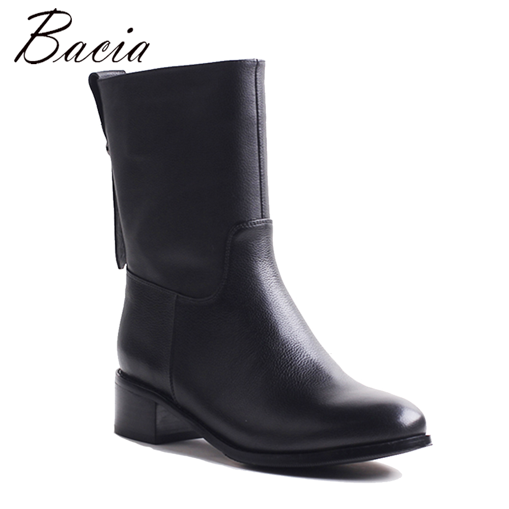 Bacia Motocycle Boots Thick Shortplush Mid calf Boots Square Heels Full Grain Leather Shoes Genuine Leather Handmade ShoesVXB043 new arrival superstar genuine leather chelsea boots women round toe solid thick heel runway model nude zipper mid calf boots l63