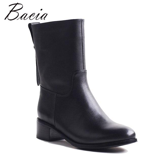 Bacia Мотоботинки толстые Shortplush до середины икры Сапоги и ботинки для девочек квадратный каблук кожаные туфли с натуральным лицевым покрытием Пояса из натуральной кожи ручной работы Обувь vxb043