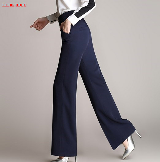 Femmes été pantalon large jambe lâche taille haute Palazzo pantalon grande taille 4XL femmes bureau travail Long pantalon mince noir rouge bleu