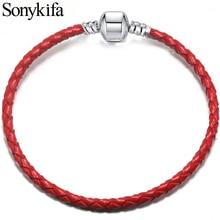 Sonykifa, 9 цветов, 16 см-21 см, кожаный браслет-Шарм для женщин, подходит для оригинальных шармов, бисер, сделай сам, бренд Pandoro, браслет, Прямая поставка