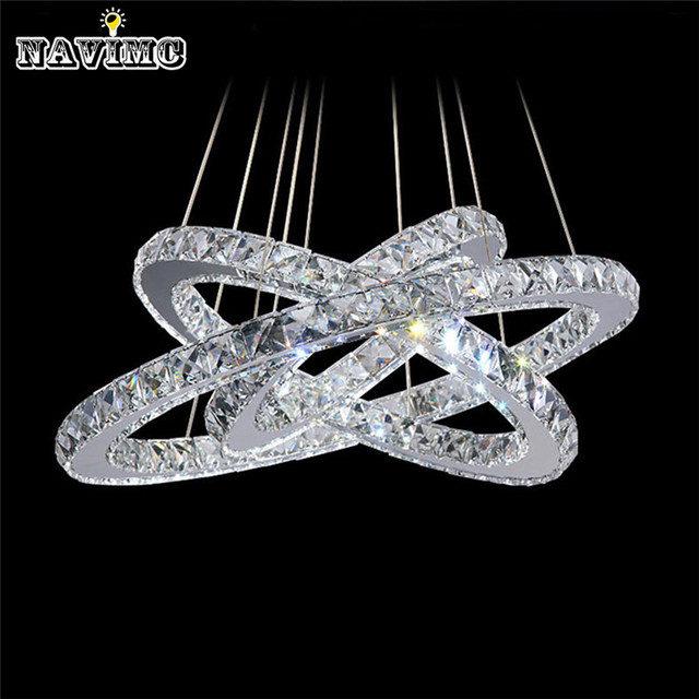 Modern Chrome Pendant Lights For Dining Room Crystals Diamond Ring Led Lamp Stainless Steel Hanging Light