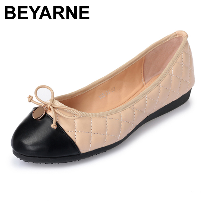 BEYARNE New Ladies Casual Slip-on Flats Fashion Patchwork Bowtie Flats For Women Soft Ladies Leisure Ballerinas Flats Size 35-41 siketu sweet bowknot flat shoes soft bottom casual shallow mouth purple pink suede flats slip on loafers for women size 35 40