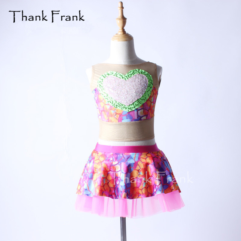 Remerciez Frank 2 pièces coloré maille Ballet robe filles adulte amour coeur lyrique danse Costume C360