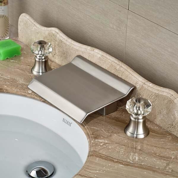Brand New 3pcs Brushed Nickel Waterfall Bathroom Sink Faucet Crystal Handles Basin Mixer Tap China