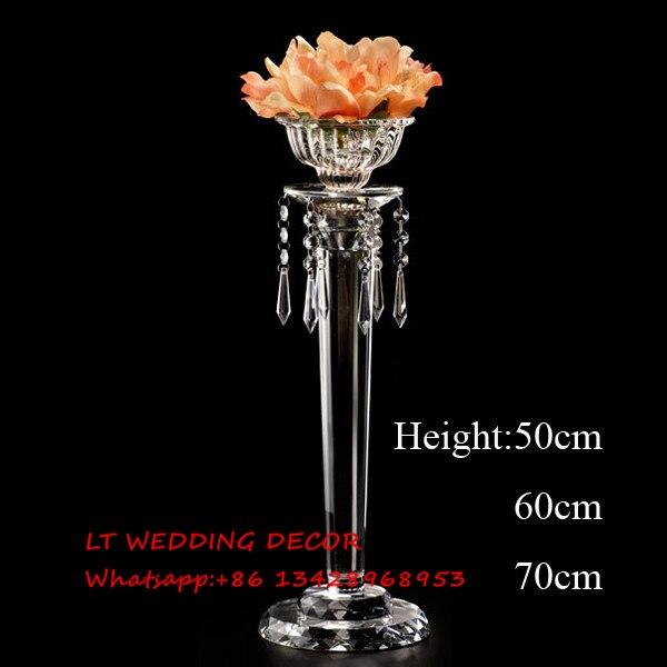 Хрустальный цветок стоять на свадьбу Украшение стола центральным подсвечник 50 см, 60 см, 70 см высота