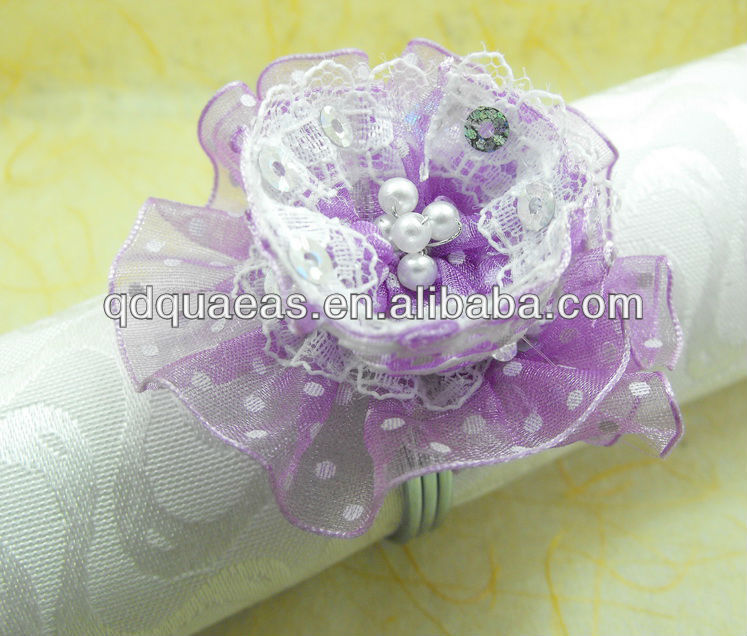 Purple Lace Beaded Wedding Napkin Ring, Napkin Holder,-in