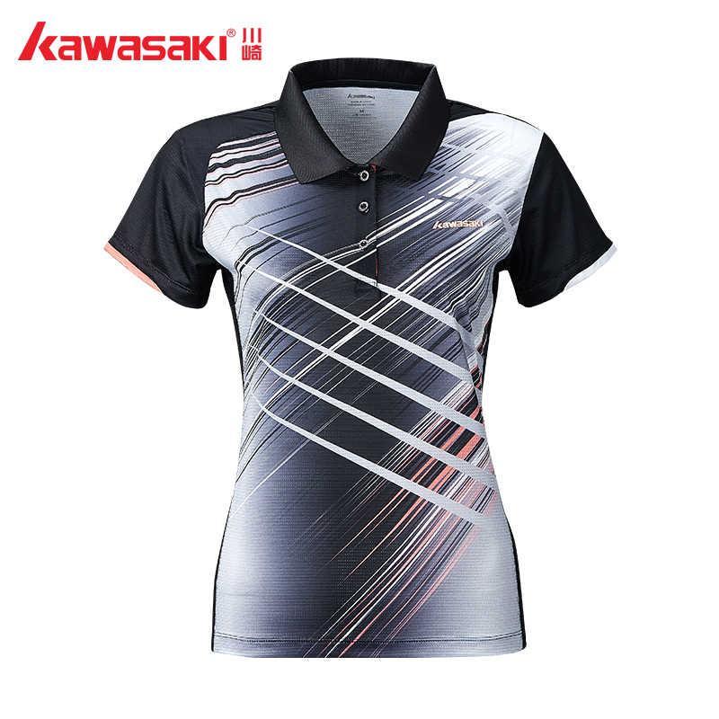 2019 Kawasaki Badminton Shirts Tennis Shirt Breathable Short-sleeved T-Shirt For Female Black T-shirt ST-S2106