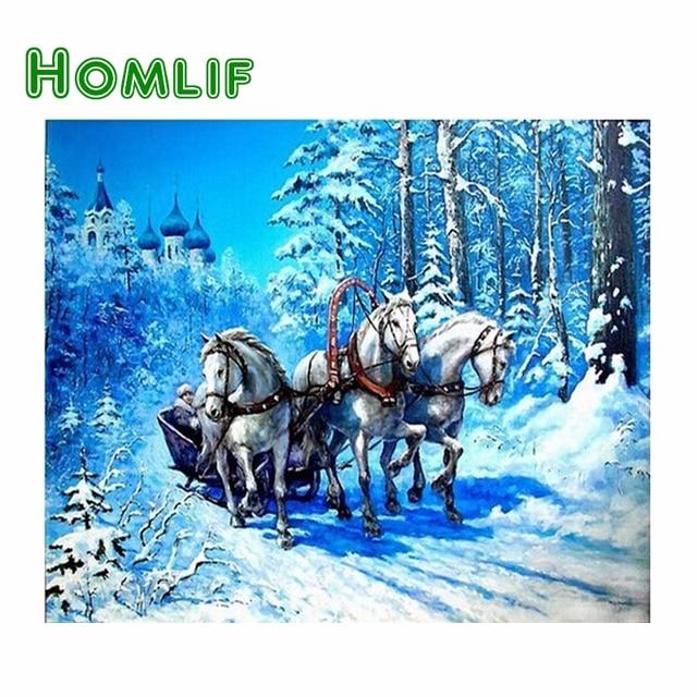 Homlif ремесел круглый DIY алмаз вышивка зима 5D Diamond вышивка крестиком кристалл поделки алмазов картина три лошади в снегу