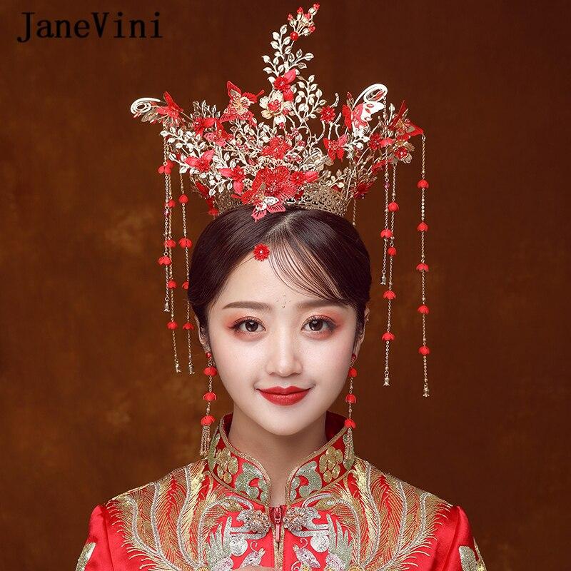JaneVini bijoux de luxe de Style chinois couronnes de mariée en or anciennes épingles à cheveux papillon rouge avec boucles d'oreilles accessoires de cheveux de mariage