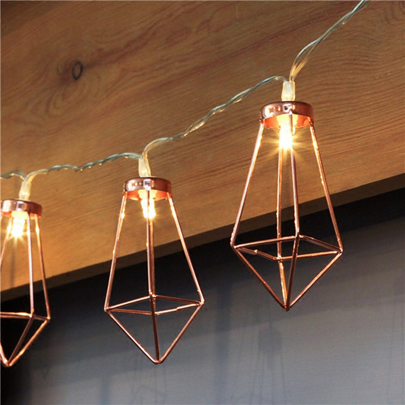 Retro Iron Metal Diamond LED Fairy String Lights Battery Xmas Holiday Wedding Party Home Decoration 10Leds Lantern String Lamps (4)