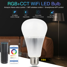 NEW milight 9W RGB+CCT Wifi Led Bulb Lamp Smart Led Light phone APP Amazon Alexa voice control dimbare 2700K-6500K AC100-240V