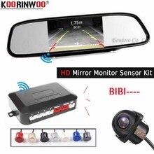 Koorinwoo Wireless car parking sessor kit Auto cámara de visión trasera TFT Monitor LCD con Sensor de alarma de aparcamiento Radar 4 Video inverso