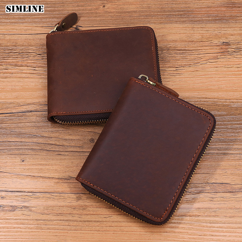 SIMLINE 2018 New Vintage Genuine Leather Men Wallet Men's Male Short Zipper Around Wallets Purse Card Holder With Coin Pocket