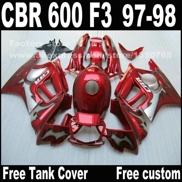 Custom free Motorcycle parts for HONDA CBR 600 F3 fairings 1997 1998 CBR600 F3 97 98 all red body repair fairing kit  T9 hot sales all white for honda vtr1000f 97 05 97 98 99 00 01 02 03 04 05 vtr1000 f vtr 1000 f 1000f 1997 2005 fairing