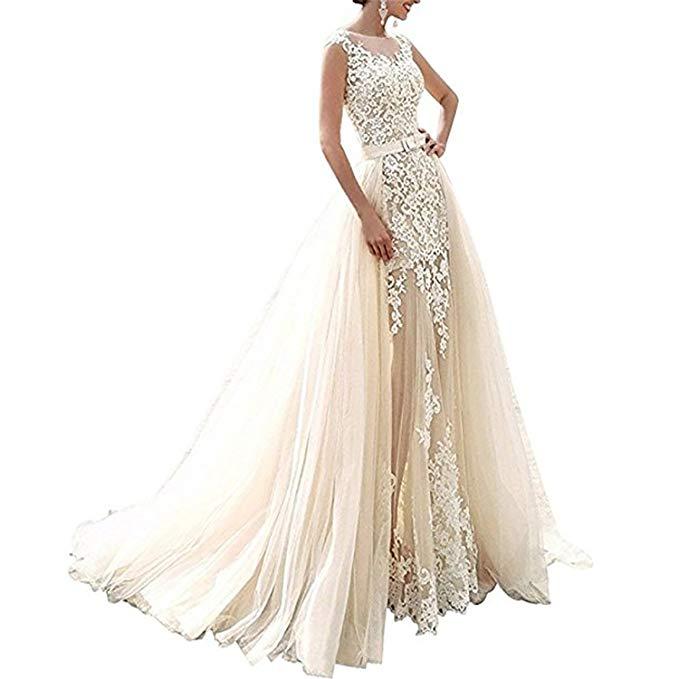 Spitze 2019 Photo Novia Hochzeit Braut As Zug Vintage Meerjungfrau Applique Kleid Vestidos same Sleeveless Photo Abnehmbaren Same Mit Für De pPnR5wqH