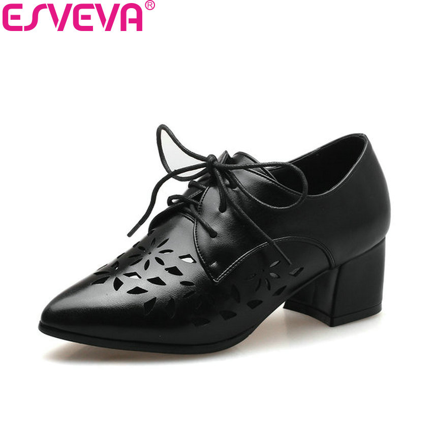 ESVEVA 2018 Women Pumps Lace Up Embossed Leather PU Square High Heels Spring and Autumn Pointed Toe Pumps Women Shoes Size 34-43 esveva 2017 new pointed toe pu women pumps lace up british style fashion shoes women spring square high heel pumps size 34 39