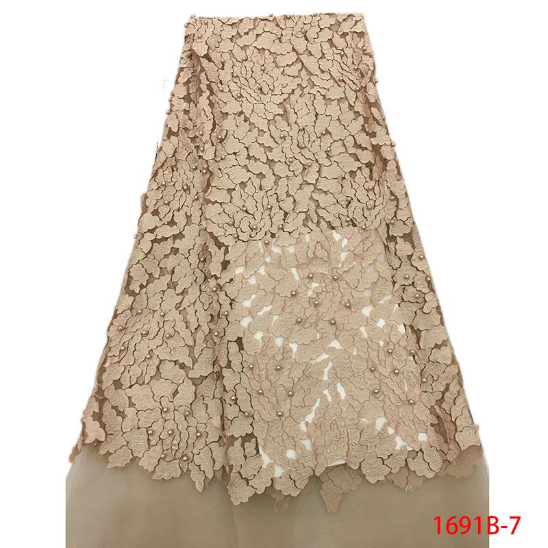 French Lace Fabrics Gold 2018 High Quality African Net Lace With Beads Nigerian Tulle Mesh Lace