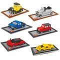 Modelo de Carro de corrida de Diamante Escala Mini Montado Blocos de Construção 3D DIY Tijolos Brinquedos Divertimento Legal Do Vintage Modelo de Carro de Presente