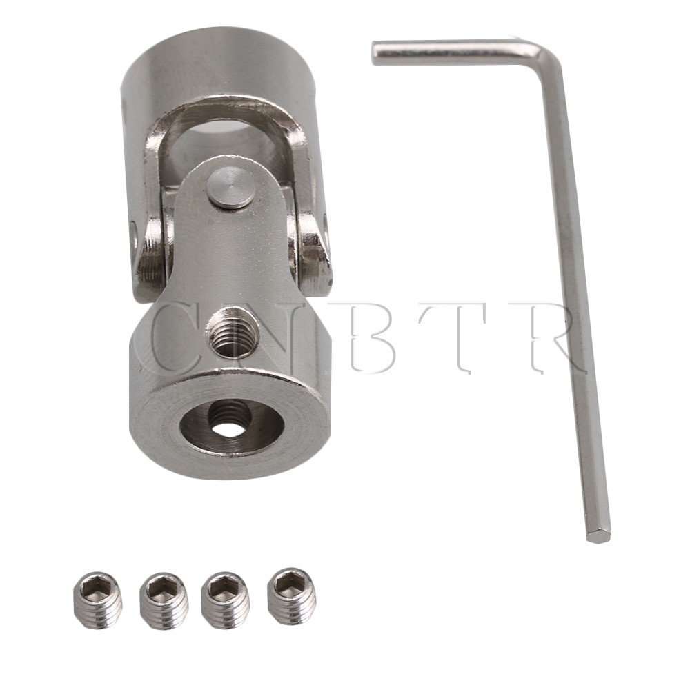 CNBTR Silver 8mm to 10mm ID 35mm Length 45# Steel Rotatable Motor Shaft Universal Joint Connector Coupling w/Hex Wrench ScrewsCNBTR Silver 8mm to 10mm ID 35mm Length 45# Steel Rotatable Motor Shaft Universal Joint Connector Coupling w/Hex Wrench Screws