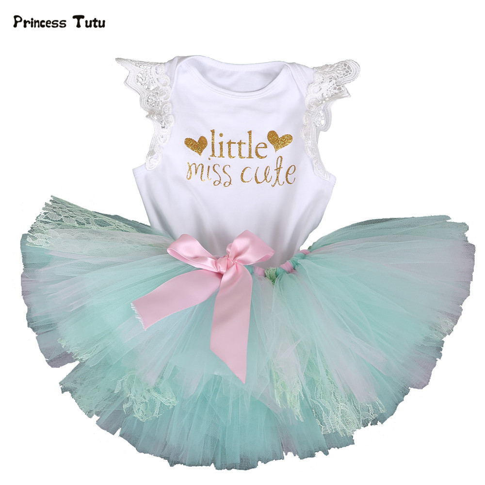 Tutu Set Baby Girl Clothes Birthday Newborn Lace Bodysuit+Tutu Skirt 1st Birthday Outfit Cute Toddler Infant Party Clothing Sets 3pcs set cute newborn baby girl clothes 2017 worth the wait baby bodysuit romper ruffles tutu skirted shorts headband outfits