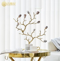 Golden Tree with Gemstone / Coral Branches Hanging Bracket / Made of Brass