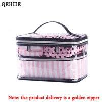 جديد النسخة الكورية 4 قطع شفافة pvc السفر حقيبة مستحضرات التجميل حقيبة المرأة الوردي أكياس منظم ماكياج شحن مجاني