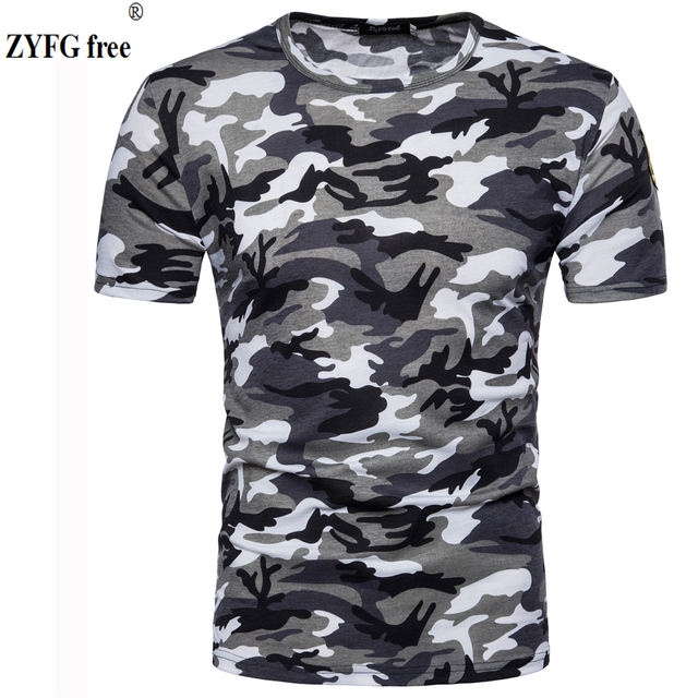New Arrivals short sleeved T-shirt Male Camo pattern summer T-shirts Men slim O-neck cotton elastic casual t-shirt EU/US size
