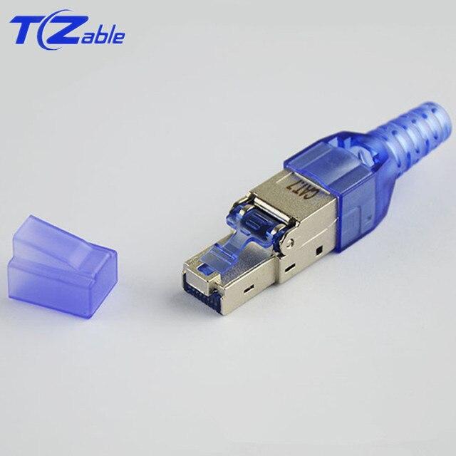 8p8c RJ45 Cat7 커넥터 인터넷 10G 차폐 압착 플러그 이더넷 어댑터 23/24AWG 네트워킹 케이블 패치 코드 RJ 45 Lan