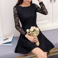 2017 Women Autumn Evening Party Sexy Lace Office Dress For Girl Mini Short Pink Dress Vintage