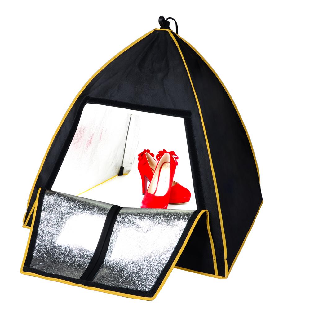 Prix pour 63*63*66 CM Photo Boîte à Lumière Softbox Portable Mini Studio de Photographie Boîte à Lumière Avec Professionnel 36 W 5500 K LED Lumière Ampoule