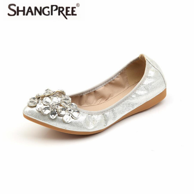 59f48d345b5a6 SHANGPREE large size Crystal Woman Flats Shoes Elegant Comfortable Lady  Fashion Rhinestone Women Soft shoes woman zapatos mujer